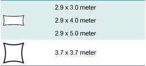 wavesail 2,9x4 meter grijs