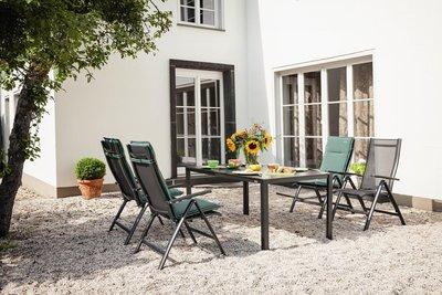 Kettler Legato Curve tuinset antraciet verstelbare tuinstoel met loft tafel
