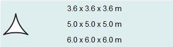 Schaduwdoek driehoek 3,6 zwart