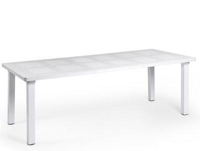 kunststof tuintafel levante 160/220x100 cm kleur: wit