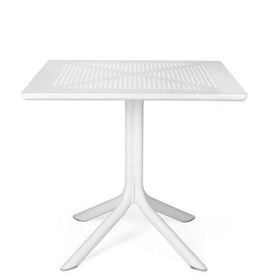 Nardi Clip 80 kunststof tuintafel vierkant 80 cm, kleur: wit