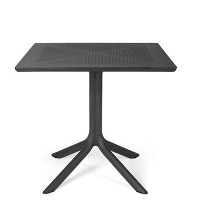 Nardi Clip 80 tafel kunststof tuintafel vierkant 80 cm, kleur: antraciet