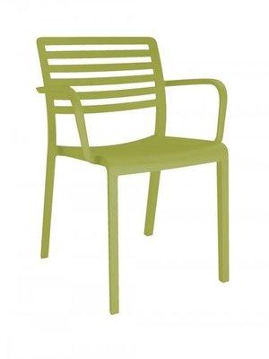 Lama Resol kunststof armstoel kleur: olijf groen