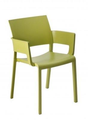 Fiona terrasstoel met armleggers van Resol kleur: olijf groen
