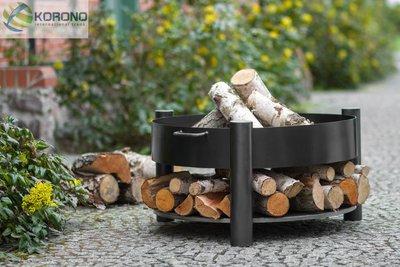 Vuurschaal met hout voorraad rond 60 cm