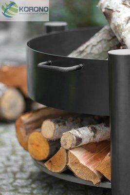 Vuurschaal met hout voorraad rond 70 cm