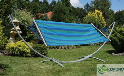 Hangmat standaard met hangmat max 150 kg groen/blauw