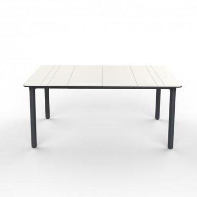 Resol Kunststof Tuintafel Noa 160x90 cm, kleur: wit/donkergrijs