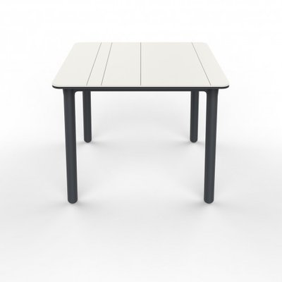 Resol Kunststof Tuintafel Noa 90x90 cm, kleur: wit/donkergrijs