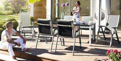 Kettler forma II tuinset antraciet verstelbare tuinstoel met loft tafel