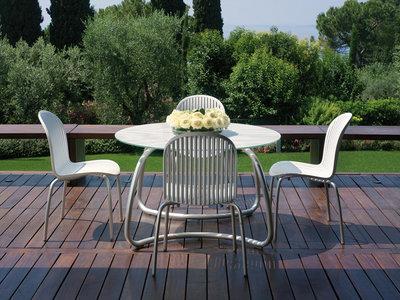 Ninfea kunststof tuinset met een ronde tafel van cm tendence