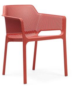 nardi stoel net vol kunststof en stapelbaar in de kleur corallo