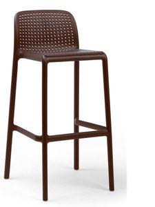 Nardi kunststof barkruk Lido stapelbaar en in de kleur caffe donker bruin