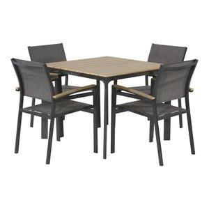 Tuinset aluminium textileen stapelstoel